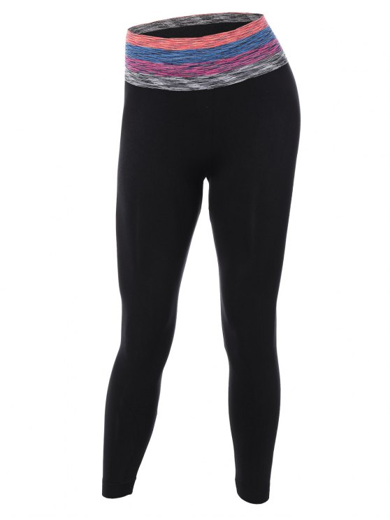 Striped Skinny Yoga Pants - BLACK M Mobile
