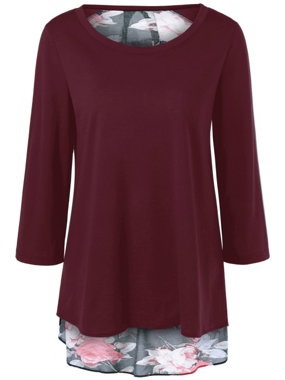 Flower Pattern Layered Blouse - WINE RED L Mobile