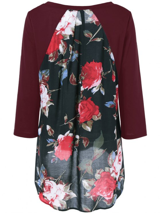 Flower Pattern Layered Blouse - WINE RED M Mobile