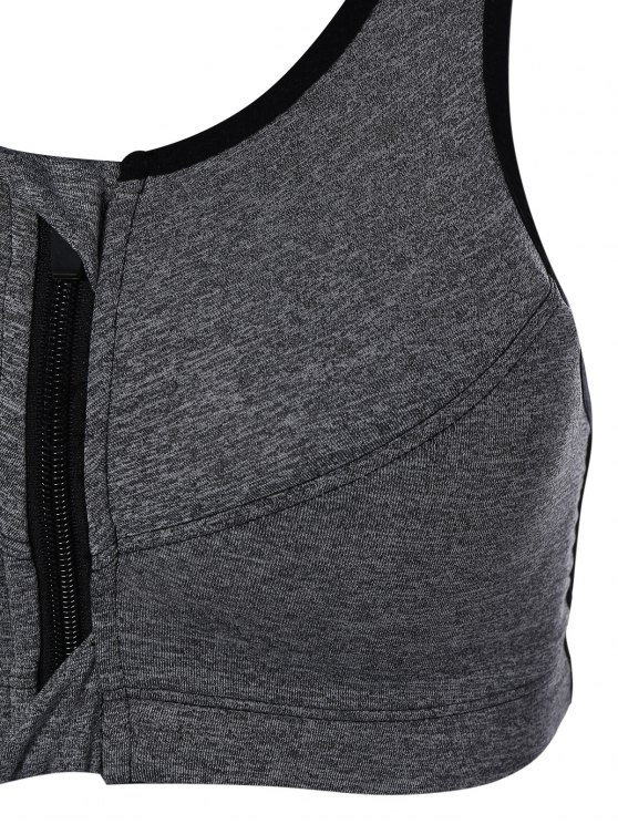 Zip Up Cut Out Sports Bra - GRAY M Mobile