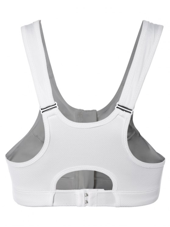 Zip Up Cut Out Sports Bra - WHITE L Mobile