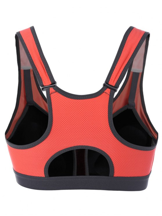 Zip Up Color Block Sports Bra - RED L Mobile