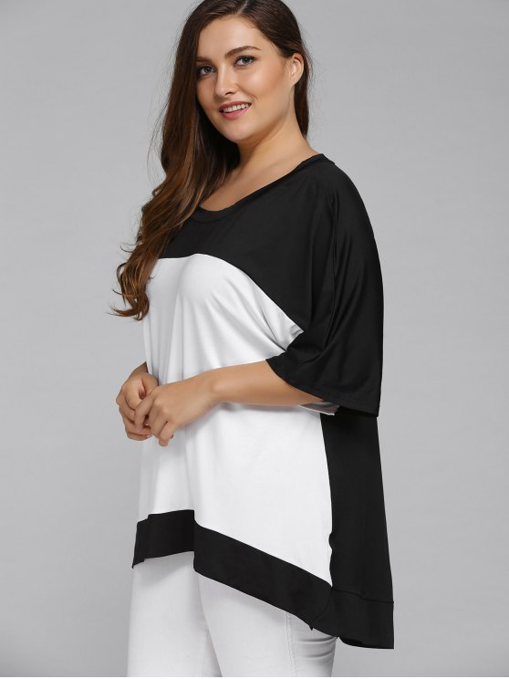 Plus Size High Low Color Block Blouse - WHITE 4XL Mobile