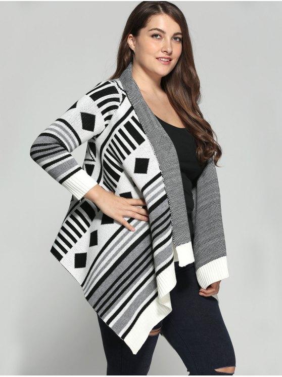 Asymmetric Geometric Pattern Plus Size Cardigan - COLORMIX 3XL Mobile