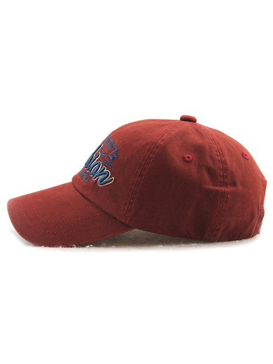 Adjustable Outdoor Letters Embroidery Baseball Cap - CLARET  Mobile
