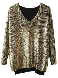 Side Slit V Neck Gilding Sweater - Golden