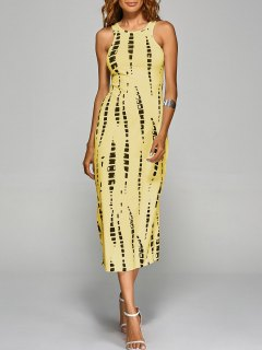 Tie-Dyed Back Cut Out Bodycon Dress - Yellow L