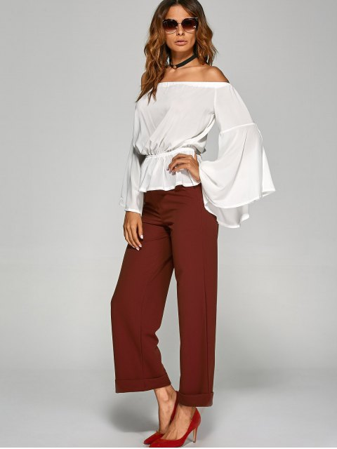 chic Turnup Wide Leg Pants - WINE RED L Mobile