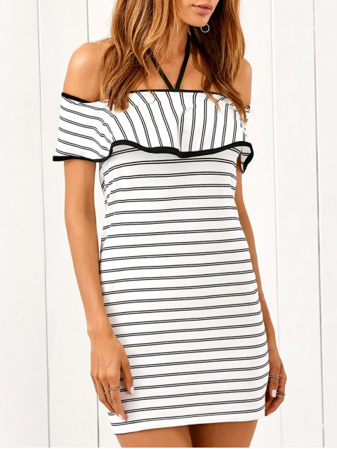 lady Flounced Striped Bodycon Dress - STRIPE S Mobile