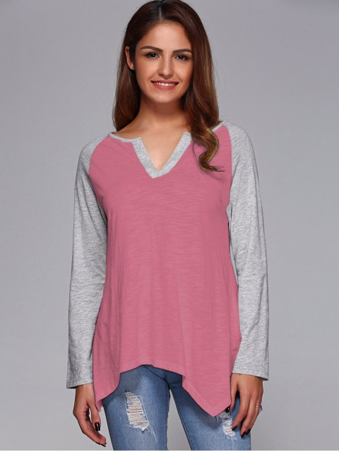 fashion Raglan Sleeve Asymmetrical Tee - PINK M Mobile