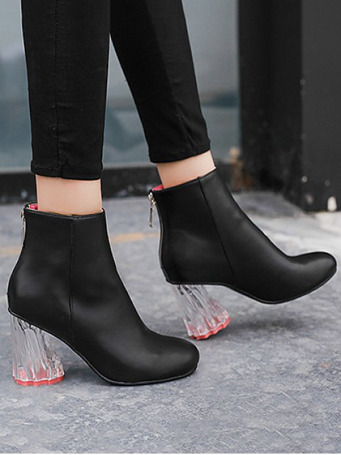 sale PU Leather Chunky Heel Ankle Boots - BLACK 38 Mobile