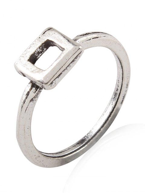 unique Burnished Geometric Ring Set - SILVER  Mobile
