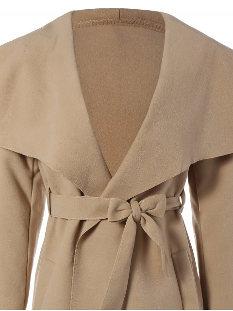womens Shawl Lapel Belted Wrap Coat - KHAKI L Mobile