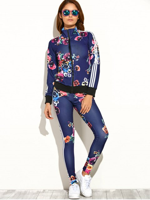 women Flower Printed Zipper Up Top+Pants - DEEP BLUE S Mobile