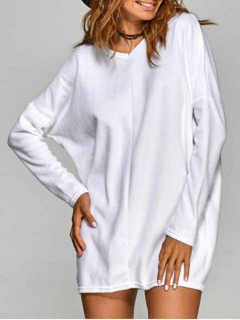 hot Loose Long V Neck Sweater - WHITE M Mobile