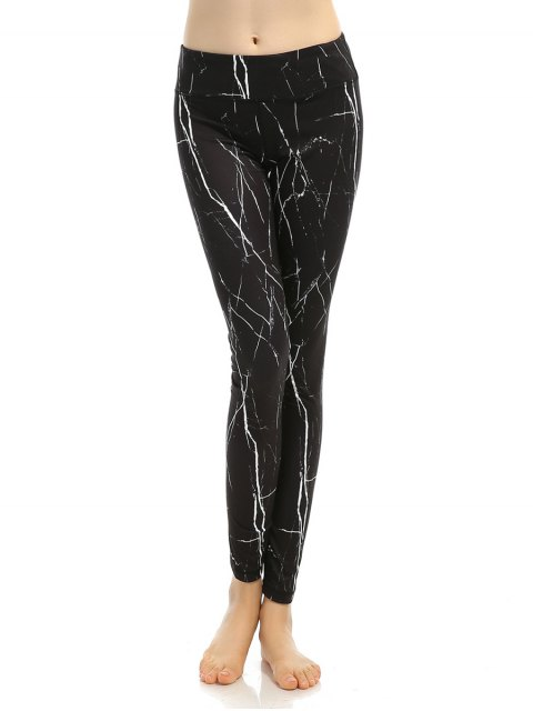 shops Slimming Printed Stretchy Gym Pants - BLACK L Mobile