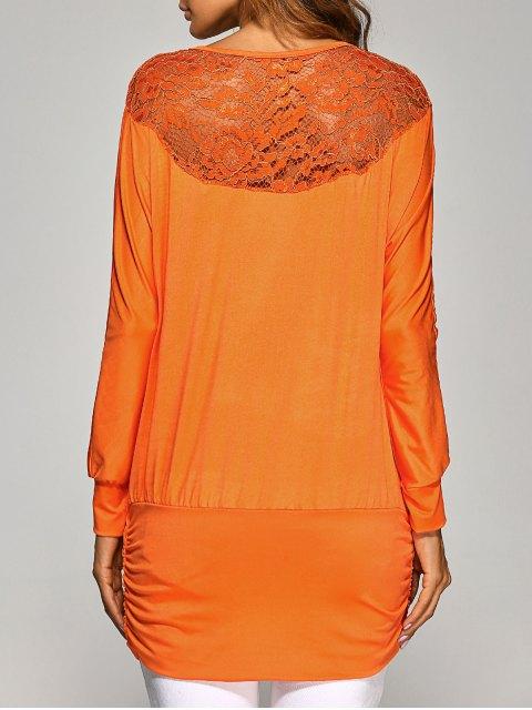 womens Lace Yoke Long Sleeve T-Shirt - ORANGE M Mobile