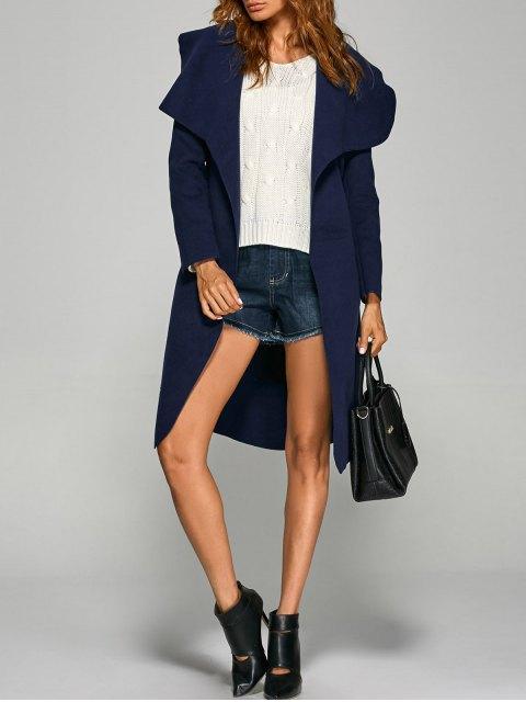 lady Shawl Lapel Belted Wrap Coat - PURPLISH BLUE L Mobile