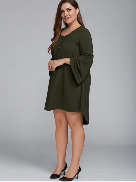 fashion Plus Size Lace Up Flare Sleeves Dress - OLIVE GREEN 2XL Mobile