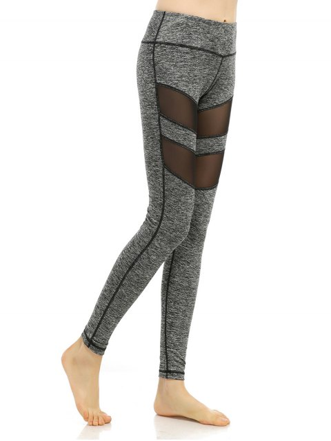 outfits Heathered Stretchy Mesh-Insert Pants - GRAY S Mobile