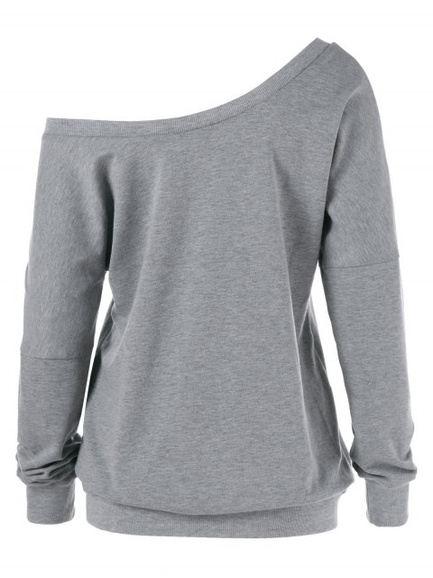 women Graphic Pattern Skew Collar Sweatshirt - GRAY XL Mobile