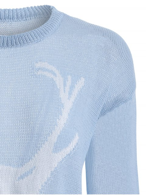 hot Elk Pattern Distressed Knitwear - LIGHT BLUE L Mobile