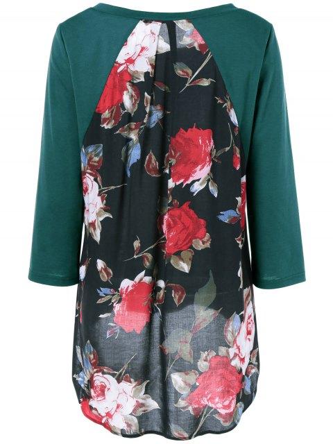 trendy Flower Pattern Layered Blouse - JADE GREEN L Mobile