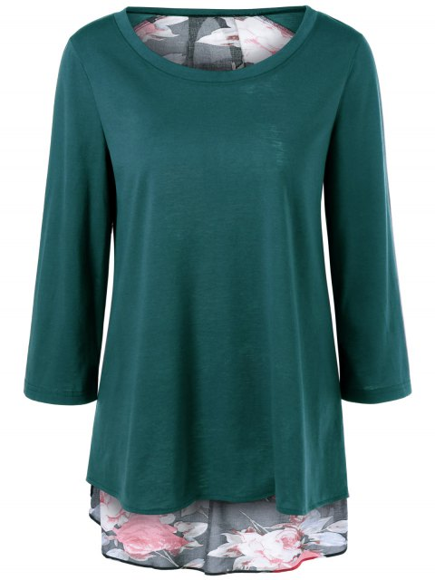 latest Flower Pattern Layered Blouse - JADE GREEN XL Mobile