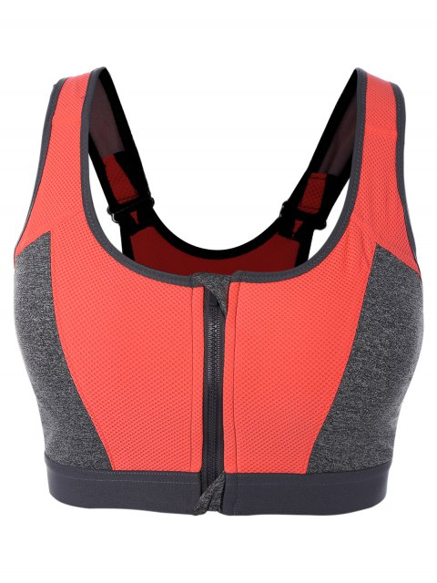 sale Zip Up Color Block Sports Bra - RED L Mobile