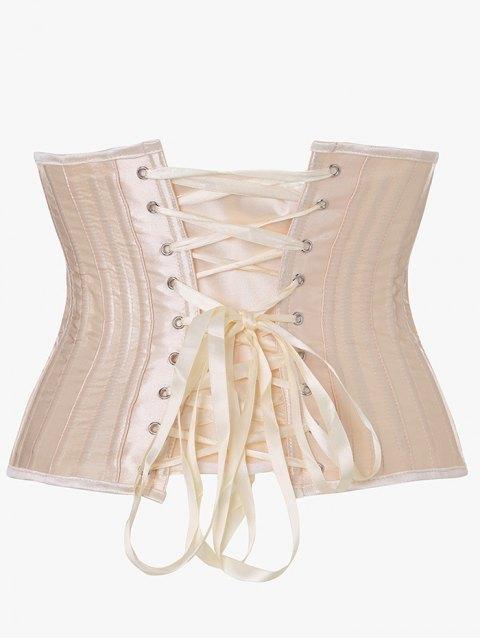 fashion Lace Up Strapless Corset - APRICOT XS Mobile