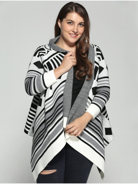 sale Asymmetric Geometric Pattern Plus Size Cardigan - COLORMIX 3XL Mobile