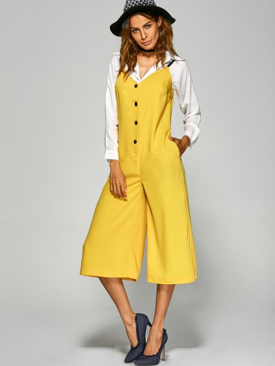 Buttoned Wide Leg Jumpsuit - YELLOW L Mobile