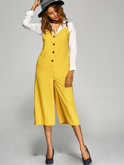 Buttoned Wide Leg Jumpsuit - YELLOW S Mobile