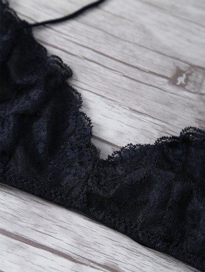 Criss Back Lace Cami Bra - BLACK L Mobile