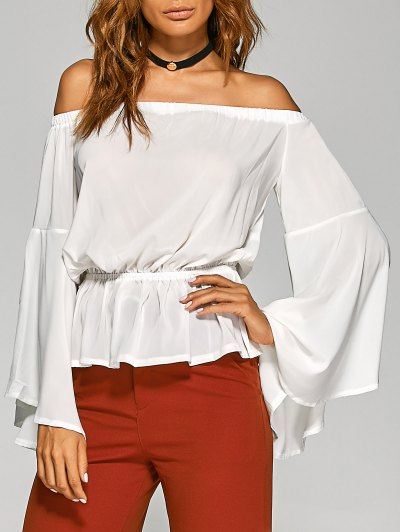 Bell Sleeves Off The Shoulder Top - White