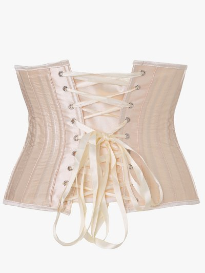 Lace Up Strapless Corset - APRICOT XS Mobile