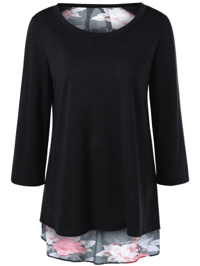 Flower Pattern Layered Blouse - BLACK XL Mobile