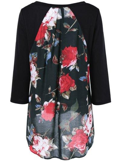 Flower Pattern Layered Blouse - BLACK M Mobile
