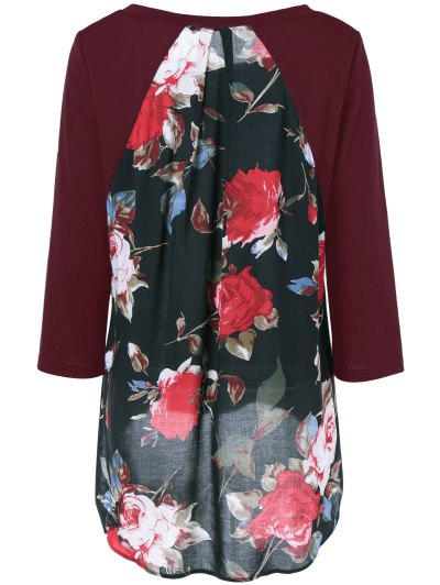 Flower Pattern Layered Blouse - WINE RED XL Mobile