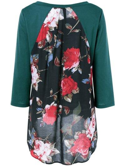 Flower Pattern Layered Blouse - JADE GREEN XL Mobile