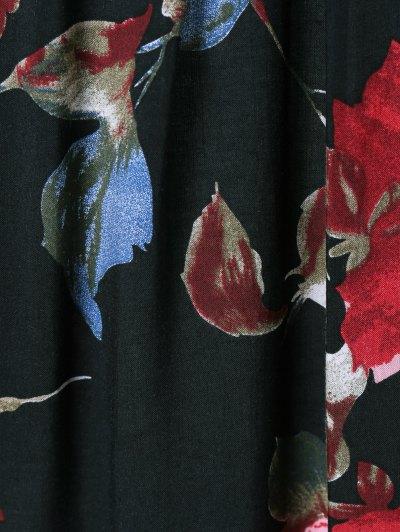 Flower Pattern Layered Blouse - JADE GREEN M Mobile