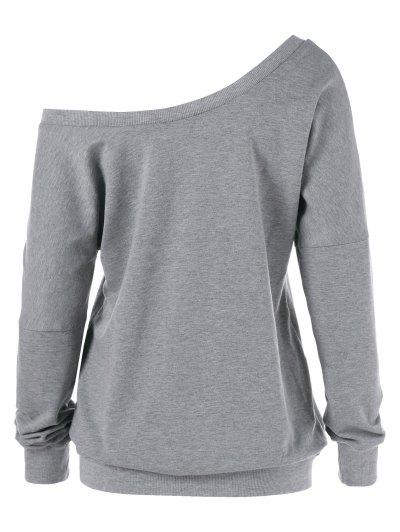 Graphic Pattern Skew Collar Sweatshirt - GRAY M Mobile