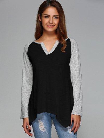 Raglan Sleeve Asymmetrical Tee - BLACK XL Mobile