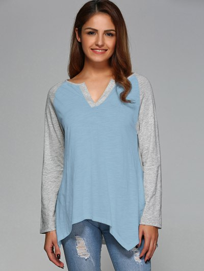 Raglan Sleeve Asymmetrical Tee - LIGHT BLUE L Mobile