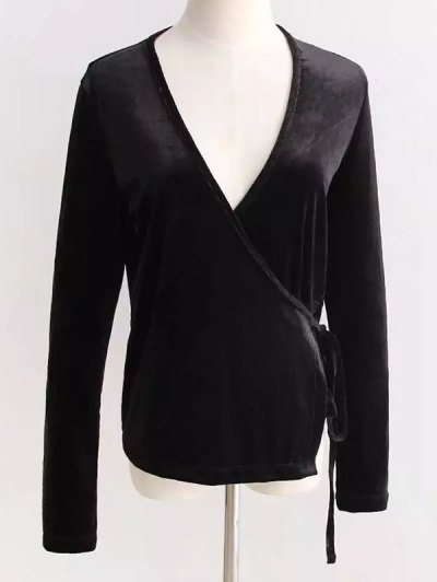 Velour Wrap Top - BLACK ONE SIZE Mobile