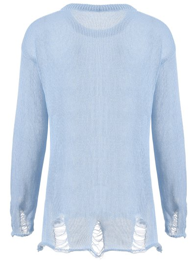 Elk Pattern Distressed Knitwear - LIGHT BLUE XL Mobile