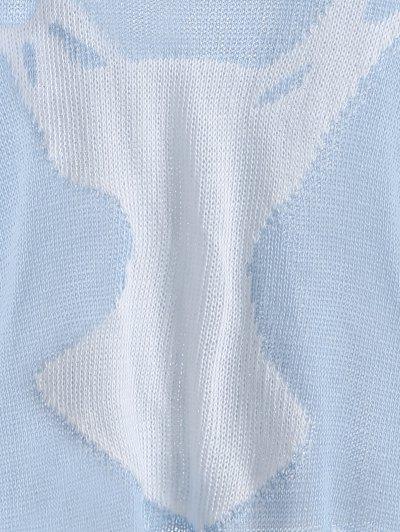 Elk Pattern Distressed Knitwear - LIGHT BLUE L Mobile
