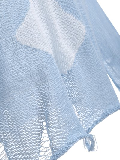 Elk Pattern Distressed Knitwear - LIGHT BLUE S Mobile