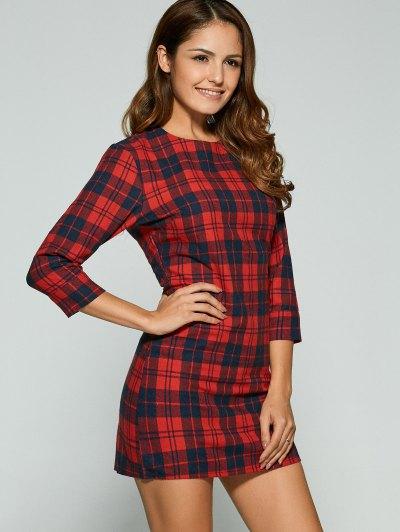 3/4 Sleeve Mini Plaid Casual Dress - RED L Mobile