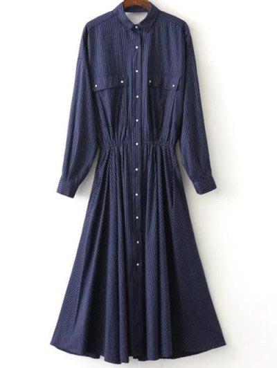 Camisa De Vestir De Rayas Volver Recorte - Azul Purpúreo